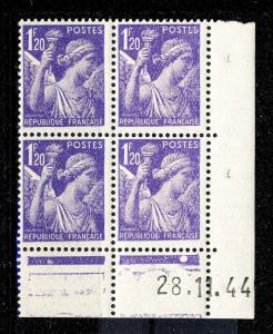 FRANCE - 1944 - N°651 1fr20 IRIS COIN DATÉ du 28.11.44 (1 point blanc) - TB