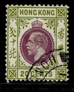 HONG KONG GV SG125, 20c purple & sage-green, FINE USED.