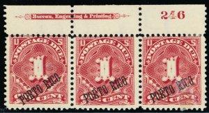 Puerto Rico #J1, Mint OG PL# & Imprint Strip of 3 Diff Ovpt Degrees Stuart Katz