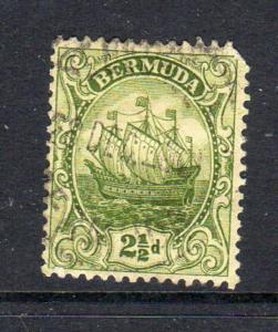 BERMUDA #86  1923  2 1/2p CARAVEL    F-VF USED  a