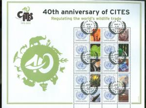 UNITED NATIONS PERSONALIZED SHEET S52 2013 40TH ANNIV OF CITES NY FD CANCEL