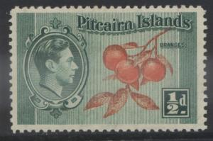 Pitcairn Is. - Scott 1 -Definitives - 1940 - MVLH - Blue Grn & Org- 1/2d Stamp2