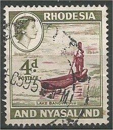 RHODESIA AND NYASALAND, 1959, used 4p, Boat on Lake Bangweulu. Scott 163