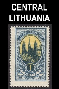Central Lithuania Scott 35 perf 13 1/2 Fine mint OG HHR. Lot # A.