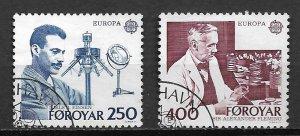 1983 Faroe Islands 95-6 Medicine Nobel Prize Winners C/S of 2 used