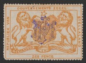 BECHUANALAND Stellaland 1886 Arms Revenue 6d orange, monogram h/s