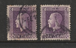 New Zealand x 2 used KGV recess 2d violet with different perfs