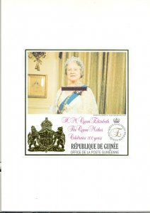 Guinea #1624 Queen Mother Birthday 1v imperf essay s/s, mounted in folder