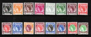 Malaya Penang-Sc#29-44-unused hinged QEII-1954-55 set-