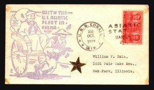 US 1938 USS EDSALL Asiatic Fleet Cover / Manila CDS - Z18569