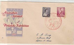 Australia 1959 Nat. Philatelic Exh. Pic Slogan Cancel Queen Stamps Cover Rf34429