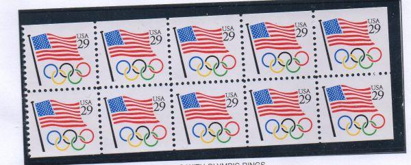 United States Sc 2528a 1991 29 c Flag Olympic Rings stamp booklet pane mint NH
