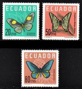 Ecuador Scott 711-13 complete set F to VF mint OG HR.