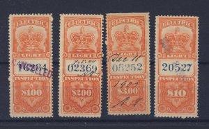 4x Canada Revenue Electric Light Stamp #FE3-4-5-7 Used Fine Guide Value = $74.00