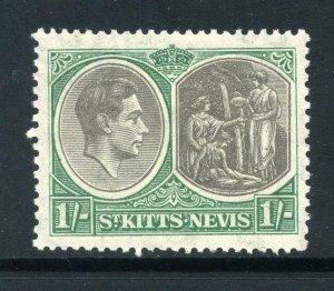St Kitts 1938 KGVI 1/- perf 13x12 SG 75 mint