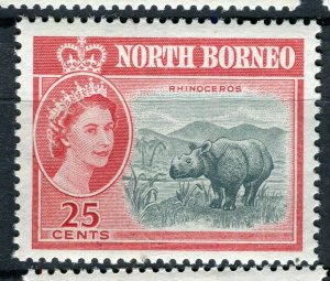 NORTH BORNEO; 1961 early QEII pictorial issue fine Mint hinged 25c. value