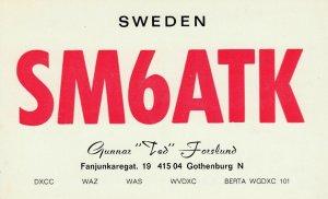 6945 Amateur Radio QSL Card  GOTHENBURG SWEDEN