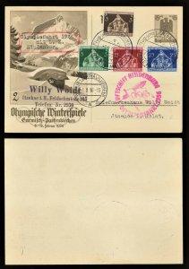 1936 Hindenburg Zeppelin Winter Olympic Postal Stationery (SC# 473-476)