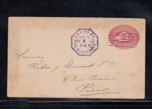 Guatemala Postal Stationery Envelope Used to Paris France 1892