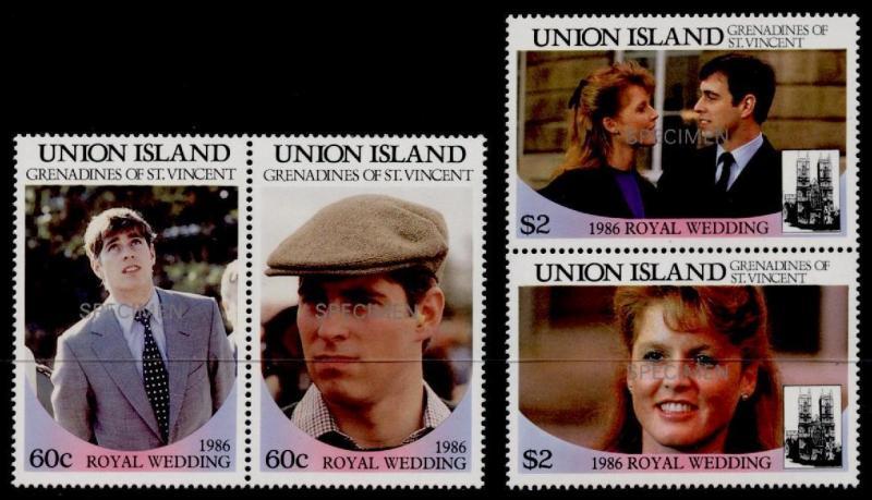 St Vincent Grenadines Union Island 228-31 Specimen o/p MNH Prince Andrew