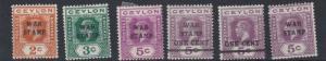 CEYLON  1918 - 19   S G 30 - 35    WAR STAMPS    MH
