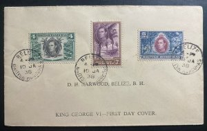 1938 Belize British Honduras First Day Cover FDC King George VI Stamp Issue