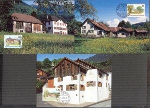 Liechtenstein 1993 Art Paintings Landscapes Architecture II 3 Maxi Cards FDC