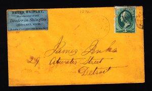 1872 Sand Lake MI cover w/scarce private return address label!
