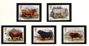 Great Britain Sc 1044-48 1984 Cattle stamp set mint NH