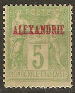 France Off Egypt Alexandria 5 Mi 5I MH F/VF 1899  SCV $6.00