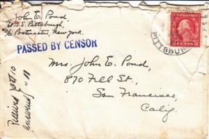 1918, USS Pittsburgh, ACR-4, Censored, See Remark (N269)