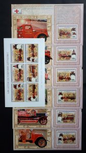 Old firetrucks I - Congo 2006 - sheet + complete set of 6 ss imperf ** MNH