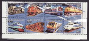 Malagasy-Sc#1102-unused NH block of 8-Trains-1993-