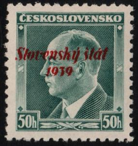 ✔️ SLOVAKIA 1939 - SLOVENSKY STAT OVERPRINT - SC.8 MNH OG [SK008]