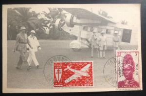1944 Yaounde French Cameroon Real Picture Postcard Cover RPPC AFRICAN FORCES