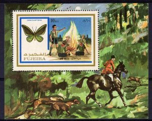 Fujeira 1972 SCOUTS BUTTERFLIES HORSE HUNTING s/s Perforated Mint (NH)
