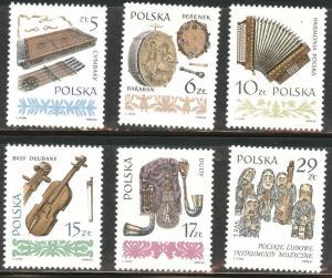 Poland Scott 2603-2608 MNH** 1984 Musical Instrument set
