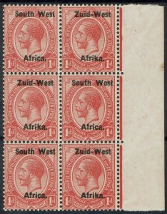 SOUTH WEST AFRICA 1923 KGV 1D MNH ** BLOCK SETTING I