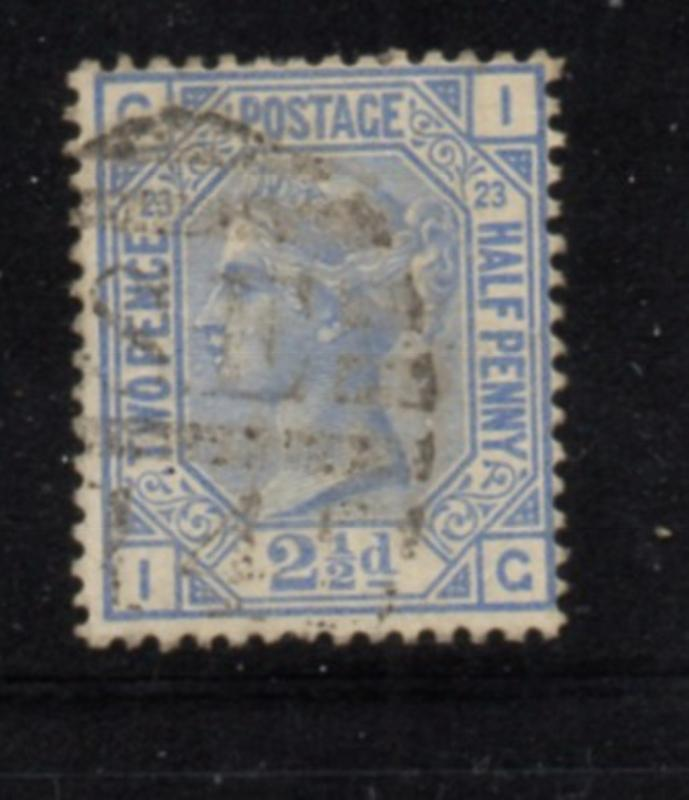 Great Britain Sc 82 plate 23 1881 2 1/2d ultra Victoria stamp used