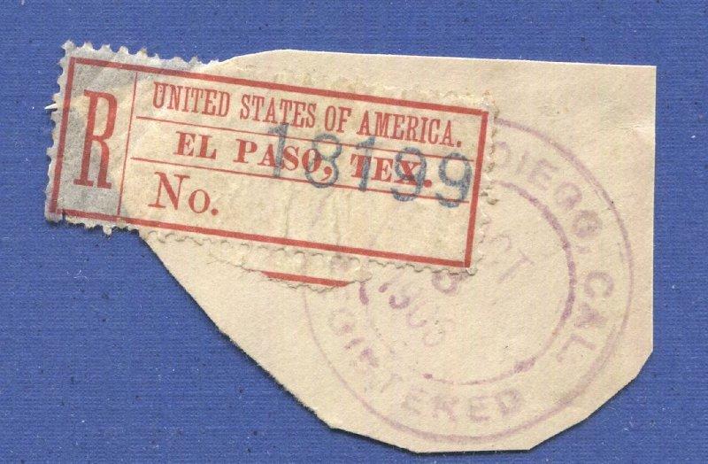 US Sc FX-EP1b Used F-VF Rare  EL PASO, TEX. Registry Exchange Label, Sc $600