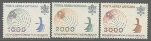 Vatican City 1978 World Telecommunications set Sc# C63-65 NH