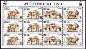 Eritrea WWF Beisa Oryx Sheetlet of 3 sets SG#319-322 MI#87-90 SC#261 a-d CV£30+
