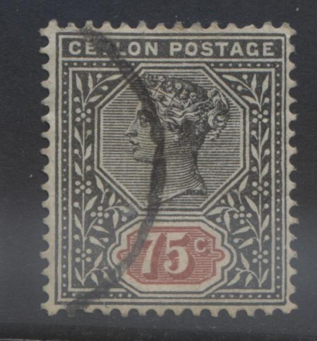 CEYLON -Scott 141- QV - Definitive Issue -1900- FU -Single 75c Stamp4