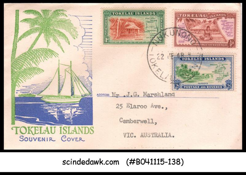 TOKELAU ISLANDS - 1948 SCOTT#1-3 - 3V - FDC