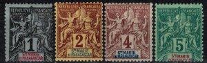Ste Marie De Madagascar #1-4 F-VF Unused CV $21.50 (X5378)