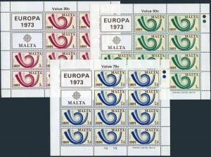 Malta 469-471 sheets,MNH.Michel 472-474 klb. EUROPE CEPT-1973,Post Horn,Arrows.