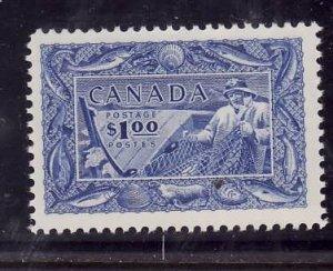 Canada-Sc#302-Unused  hinge-$1.00 bright ultramarine-Fisherman-og-1951-Cdn155-