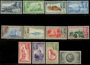 Barbados Sc #216-227 Sg 271-282 1950 KGVI Defins Komplettset Og Mint H