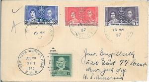 Gilbert & Ellice Island -  COVER to USA - 1937 - TAXED on ARRIVAL