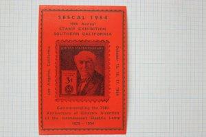 SESCAL 1954 Souvenir Philatelic label ad #945 75th Anniv Edison lamp light bulb